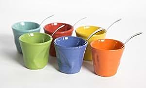 Kaleidos - Set 6 bicchierini accartocciati in gres e cucchiaini ONDA MULTICOLOR PLUS (13062)