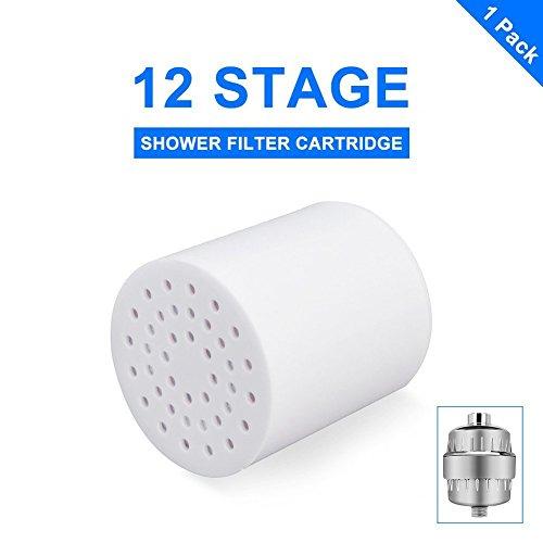 Universal Duschkopf Filter, 12 stufige Auswechselbare Filter Kartusche, Teflonband werden, mit jedem Dusche Kopf für entfernen Chlor, Schwermetalle, Schwefel-Geruch- und andere schädliche Substanz