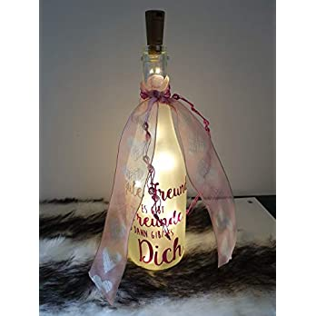 """Lichterflasche für die beste Freundin""""Es gibt gute Freunde."""" mit LED-Korkenlichterkette"""