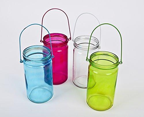 Windlicht Teelichtglas 4er Set Colours Glas 20x9cm bunt