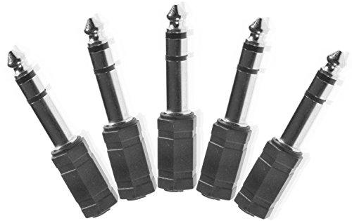 Poppstar 5X Audio Adapter Kupplung (Klinke 3,5 mm Buchse auf 6,3 mm Stecker), Klinkenkupplung für Klinkenkabel - Stereo Aux Kabel Koppeln, silbern