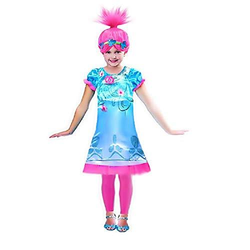 Lovelegis Größe 130 - 5-6 Jahre - Kostümkleid und Perücke - Mohn Trolle - Kleines Mädchen - Verkleidung - Karneval - Halloween - Cosplay - Geschenkidee - Poppy - Trolls (Kleine Mädchen 5 Halloween)