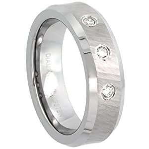 Revoni Tungsten Carbide 3-stone Diamond 6 mm Wedding Band Ring for Her 0.10 cttw Matte Mirror Diamond Cut Finish Beveled Edges, size H