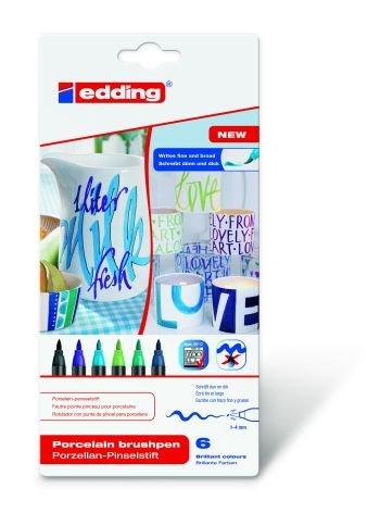 Porzellan-Pinselstift 6er Set Cool Colour Edding Flexible Pinselspitze mit variabler Strichbreite, Verpackungseinheit: 2 Stück
