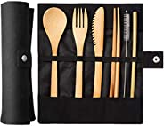 Reusable Tableware Bamboo Cutlery Set Travel Picnic Utensils With Storage Bags
