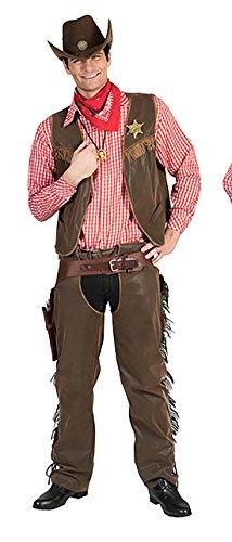 Zauberclown - Cowboy Kostüm mit Sheriffstern für Männer, XL, Braun