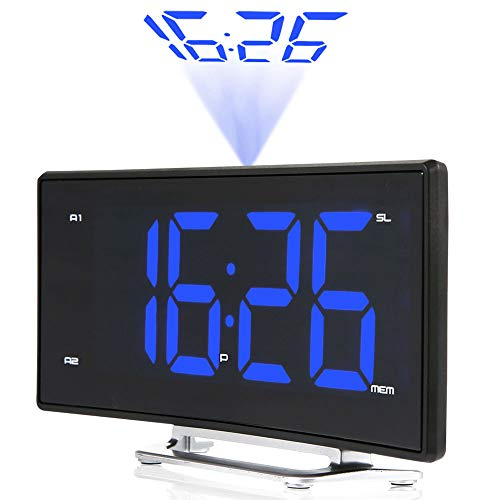 Projektionswecker Upgraded 6.7 ' ' LED Curved-Screen FM Radio Digital Dual Alarm Uhr mit 180°Flip,...