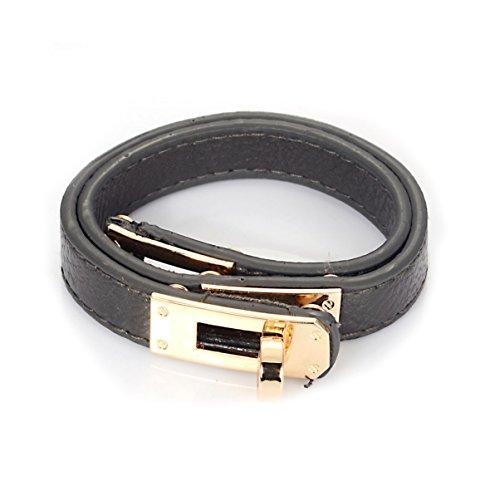 grau-echtes-leder-armband-doppelte-umdrehung-mit-gold-uberzogener-haken