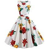 VEMOW Einzigartiges Design Elegante Cocktailkleid Ballkleid Damen Frauen Vintage Druck Bodycon Sleeveless Halfter Abendkleid Prom Swing Dress(Weiß, EU-36/CN-L)