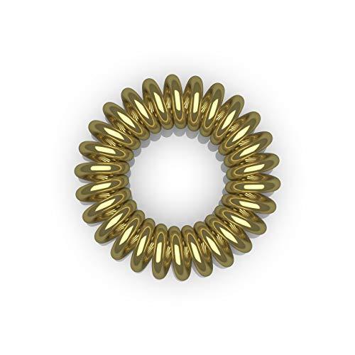10er Set Spiral-Haargummi gold groß (3,5 cm, gold, 1x 10 Stück) / Spirale Haargummi