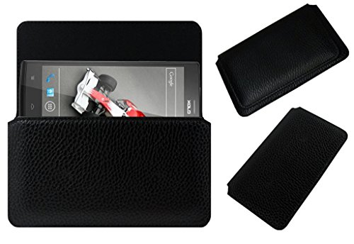 Acm Horizontal Leather Case For Lava Xolo Q2000 Mobile Cover Carry Pouch Holder Black  available at amazon for Rs.329