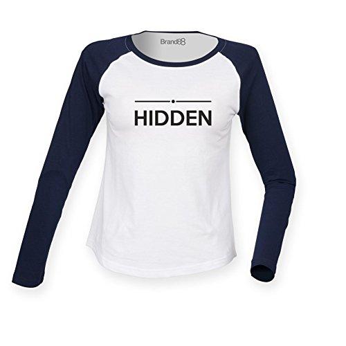 Brand88 - Hidden, Damen Langarm Baseball T-Shirt Weiss & Blau