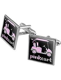 Pink Golf Cart Logo Manschettenknöpfe, quadratisch Set Silber Farbe
