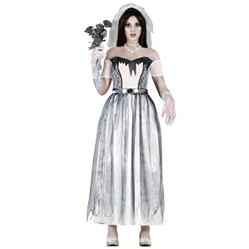 Travestimento sposa spettro abito donna zombie l 46/48 - outfit di carnevale moglie horror costume da consorte halloween completo festa in maschera ragazza mostruosa mascheramento festa a tema fantasmi