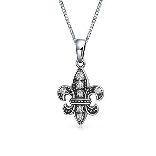 Bling Jewelry Fleur De Lis Form Anhänger Ebnen Zirkonia Cz Akzent Antiqued 925 Silber Halskette Für Damen Freundin 18 Zoll - Lis-mardi Fleur De Gras