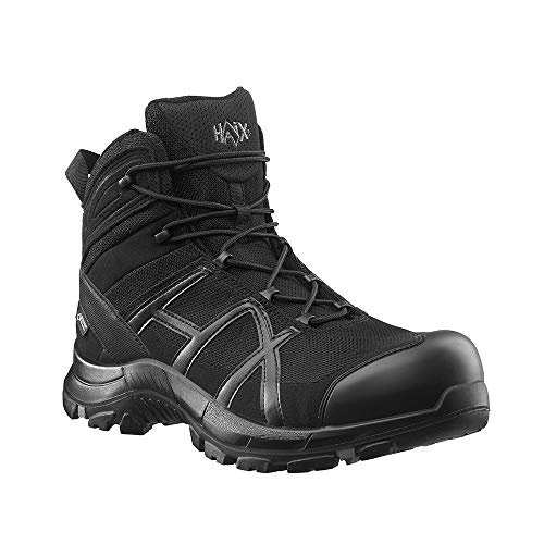 Haix Black Eagle Safety 40 Mid Black/Black S3-Sicherheitsschuhe bieten Arbeitsschutz für Handwerk und Industrie. 43