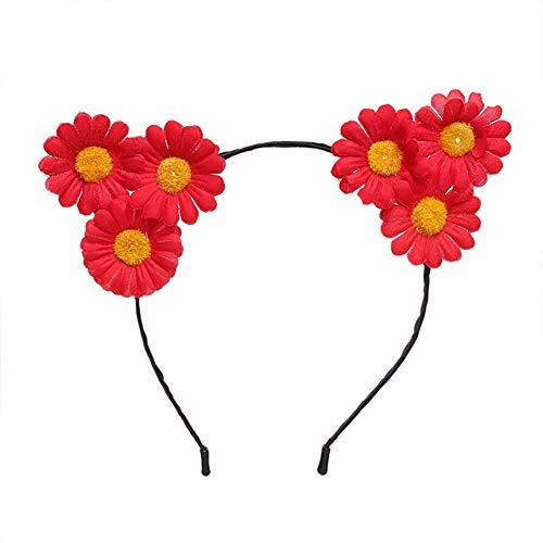 Newin Star 1 Stück Katze Ohr Stirnbänder Sonnenblumen Stirnbänder Haarschmuck Halloween Maskerade Dekoration (rot)