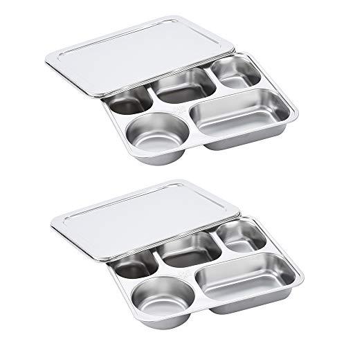 Kimmyer Hochwertige, Geteilte Edelstahl-Teller mit Deckel, mit Essstäbchen und Löffel aus Edelstahl, für Erwachsene, geteiltes Tablett, 5 Teile Bento Lunch Box, geteilt
