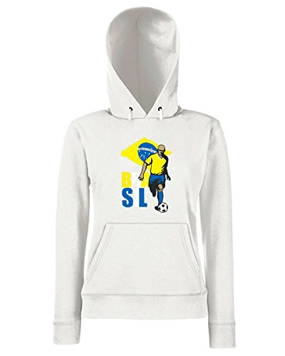 T-Shirtshock - Sweats a capuche Femme WC0044 BRAZIL BRSILE Blanc