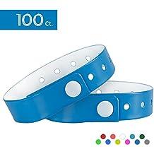 OUCHAN, 100braccialetti in vinile a forma di L per eventi, a triplo strato e impermeabili, Light Blue