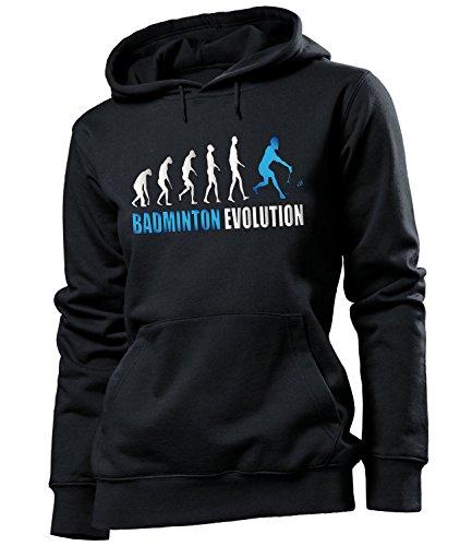 love-all-my-shirts Badminton Evolution 523 Fanhoodie Frauen Damen Hoodie Pulli Kapuzen Pullover Kapuzenpullover Sportbekleidung Sport Fanartikel Schwarz Aufdruck Blau S