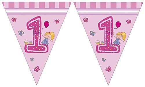 Mädchen - Erster Geburtstag Triangel Flaggen Banner ()