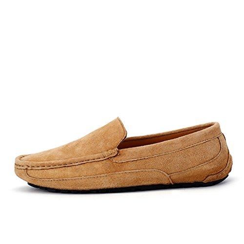 Eagsouni® Herren Mokassins Bootsschuhe Wildleder Loafers Schuhe Flache Fahren Halbschuhe Sommer Beiläufig Slippers Hausschuh #3Braun