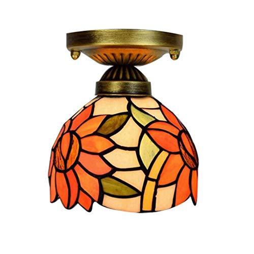 Tiffany Plafonnier simple style contemporain Style contemporain Lampe de couloir Couleur naturelle Bol et verre Abat-jour de lampe Éclairage Intérieur Lampe Boule Design 6 Pouces E27 A