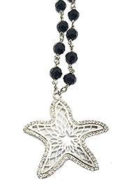 a520e389c20 Petit Monelli Collier Femme Pendentif étoile de mer en Strass pour Femme Couleur  Argent avec Fausses Pierres…
