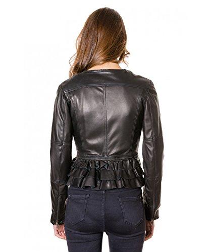 D'Arienzo ILARIA WOOL • colore nero • giacca chiodo in pelle nappa effetto liscio - 3XL, Nero