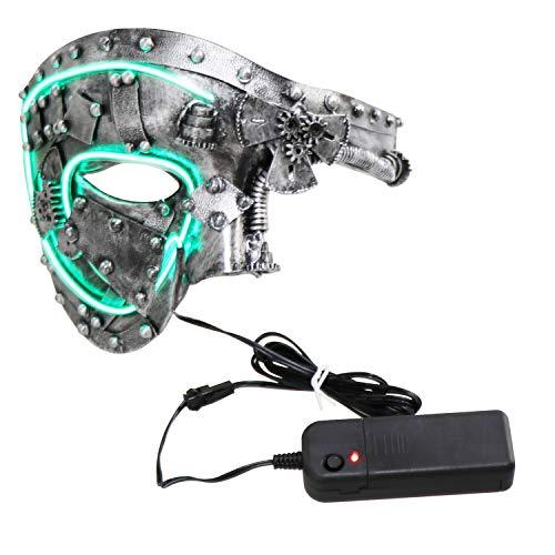 Coddsmz Masquerade Máscara de Steampunk Fantasma de la máscara Veneciana Máscara de Fiesta mecánica (Plata Antigua con luz)
