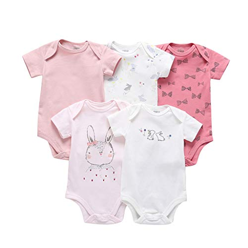 Frühchen Strampler 5pc Infant Newborn Girl Boy Rabbit Bunny Bow Print Romper Bodysuit Sunsuit (Nemo Girl Kostüm)