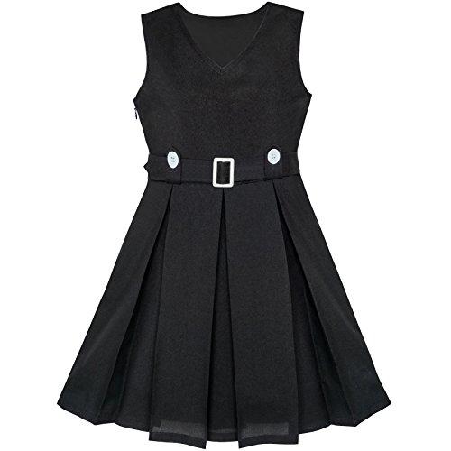 Mädchen Kleid Schwarz Taste Zurück Schule Uniform Gefaltet Saum Gr. (Schule Schwarz Kleid)