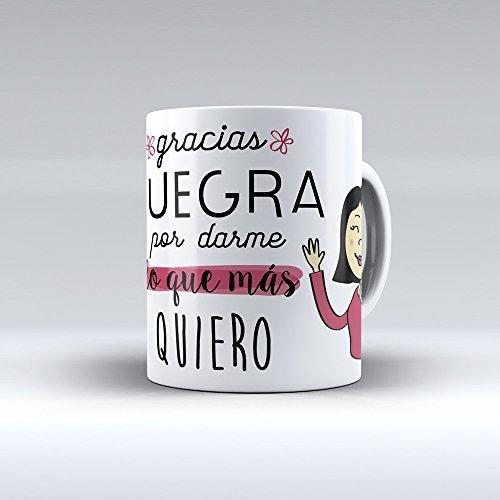 Taza cerámica desayuno regalo original cumpleaños suegra 'Gracias suegra por darme lo que más quiero'