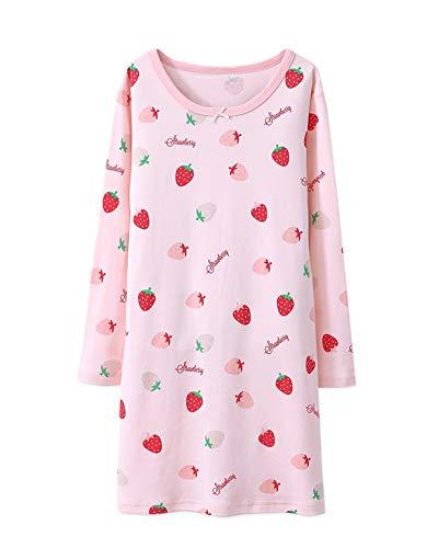DianShaoA DianShaoA Mädchen Süßer Fruchtdruck Nachthemd Slim Fit Nachtwäsche Langarm Für 3-10 Jahre Pink 110