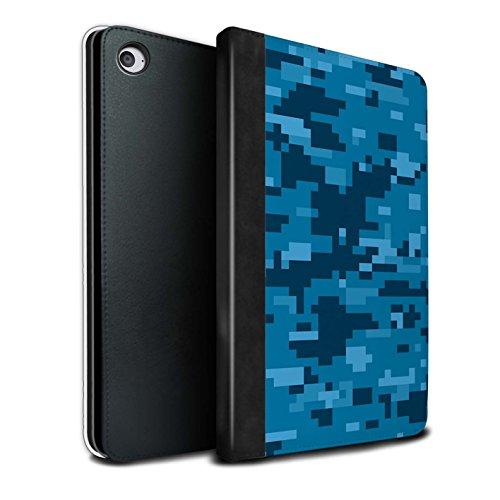 Stuff4® PU-Leder Hülle/Case/Brieftasche für Apple iPad Mini 4 Tablet/Blau Digital Urban Muster/Militär Camouflage Tarnung Kollektion