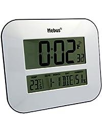 Mebus 41247 Digital wall clock Rectangular Color blanco - Reloj de pared (Color blanco,