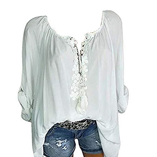 14f5ae12c6 Wenyujh  Damen Bluse Tunika Langarm Knopfleiste Elegant Locker Leicht  Langarmshirt Shirt Tshirt Oberteil Herbst Sommer