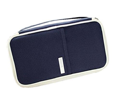 Heekpek® Billetera Funda Pasaporte Portadocumentos Organizador de Viajes Unisex Carteras para Pasaporte con Bolsillos de Cremallera (Azul)