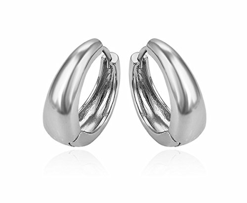 Big Kaju Bali's Smooth Finish Silver Color Salman khan Style Hoop Huggie Earrings Studs -20mm
