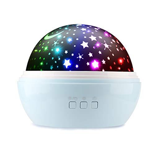 Preisvergleich Produktbild Sternenhimmel Projektor Lampe,  Ifecco LED Nachtlicht Lampe 360° Rotierend Beleuchtung mit 8 Romantische Licht,  Perfektes Geschenk für Babys,  Kinder,  Geburtstag,  Weihnachten,  Halloween (Blau)
