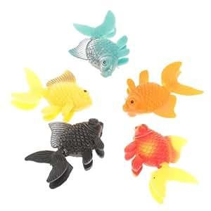 5pcs Ornement en plastique artificielle des poissons d'aquarium--poisson rouge