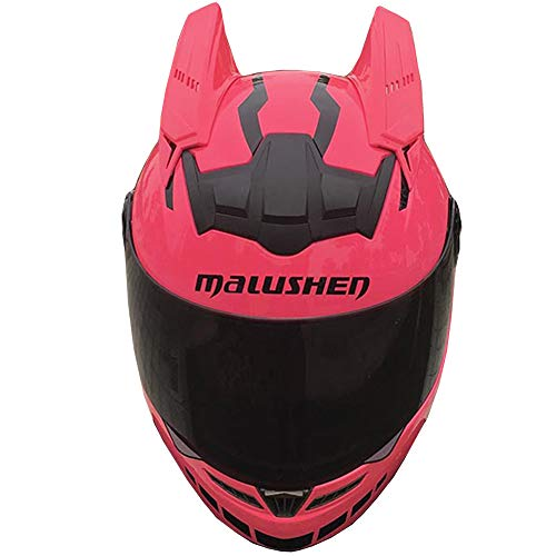 WWtoukui Mode Persönlichkeit Motorradhelm, Männer Und Frauen Elektroauto Lokomotive ATV Mountainbike Racing Roller Fliegen Downhill Integralhelm, DOT Zertifiziert Helm,pink,L:57~59cm