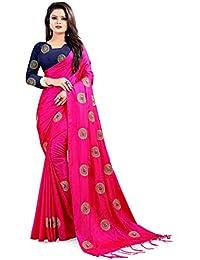 Ethnic vila paper silk saree for women(pink saree)