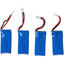 TOOGOO(R) 4 x Baterias de repuesto 500mAh para Hubsan X4 H107L, H107C, H107D, Nanodrone vCAM, V2, Skyview