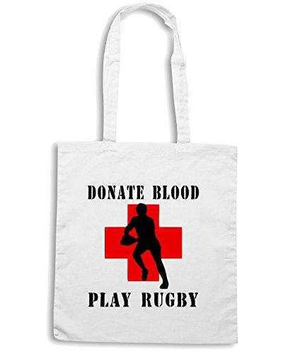 T-Shirtshock - Borsa Shopping TRUG0006 donate blood play rugby logo Bianco