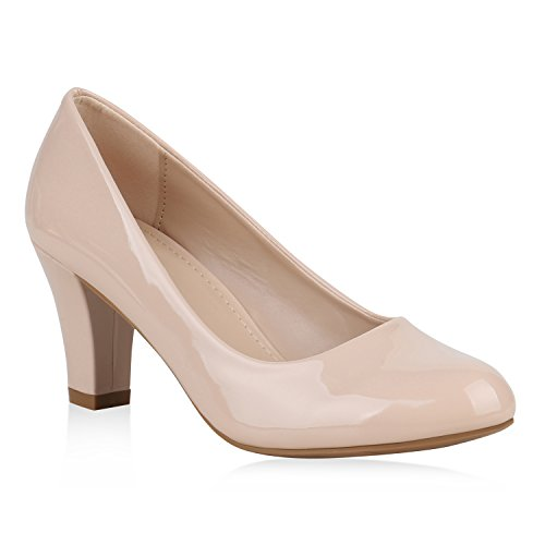 Klassische Damen Pumps Lack Business Schuhe Mid Heels Absatzschuhe 157377 Creme Bexhill 37 Flandell
