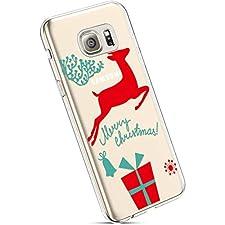 YSIMEE Fundas Samsung Galaxy S6 Edge Carcasas,Xmas Decoración Fundas Transparente Silicona Suave Ultra Fina Delgado Gel Bumper TPU Goma Protectora Carcasas-Caja de regalo