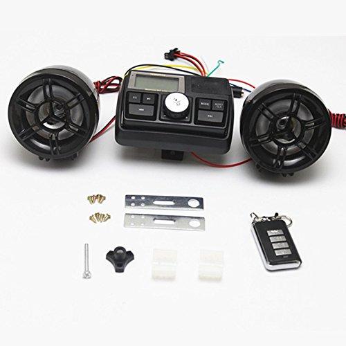HermosaUKnight Wasserdichtes 12V Motorrad Fahrrad FM Radio USB TF MP3 Player Anti-Dieb Stereo Lautsprecher Audio Sound System mit Fernbedienung-Schwarz