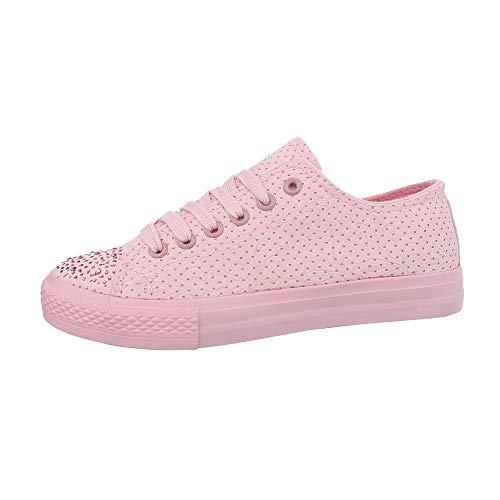 Ital-Design Damenschuhe Freizeitschuhe Sneakers Low Synthetik Rosa Gr. 38